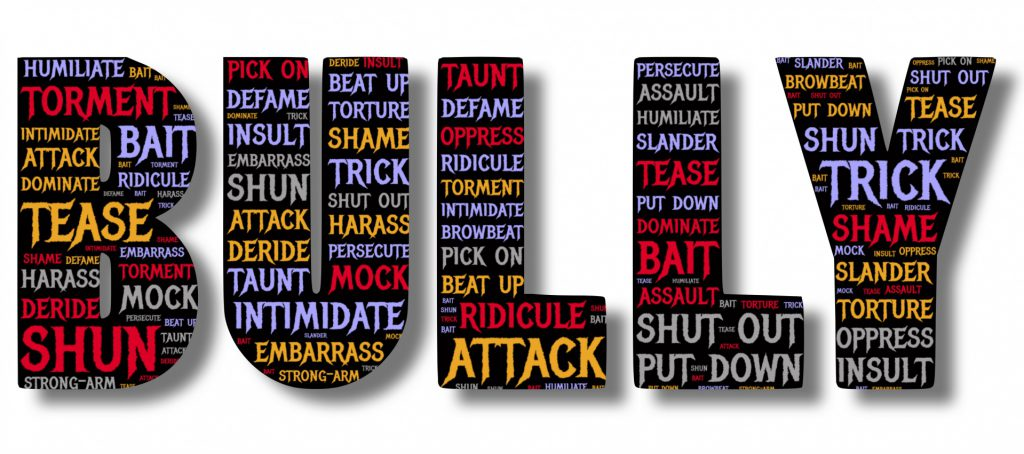 A word cloud of terms associated with bullying framed within the word BULLY
