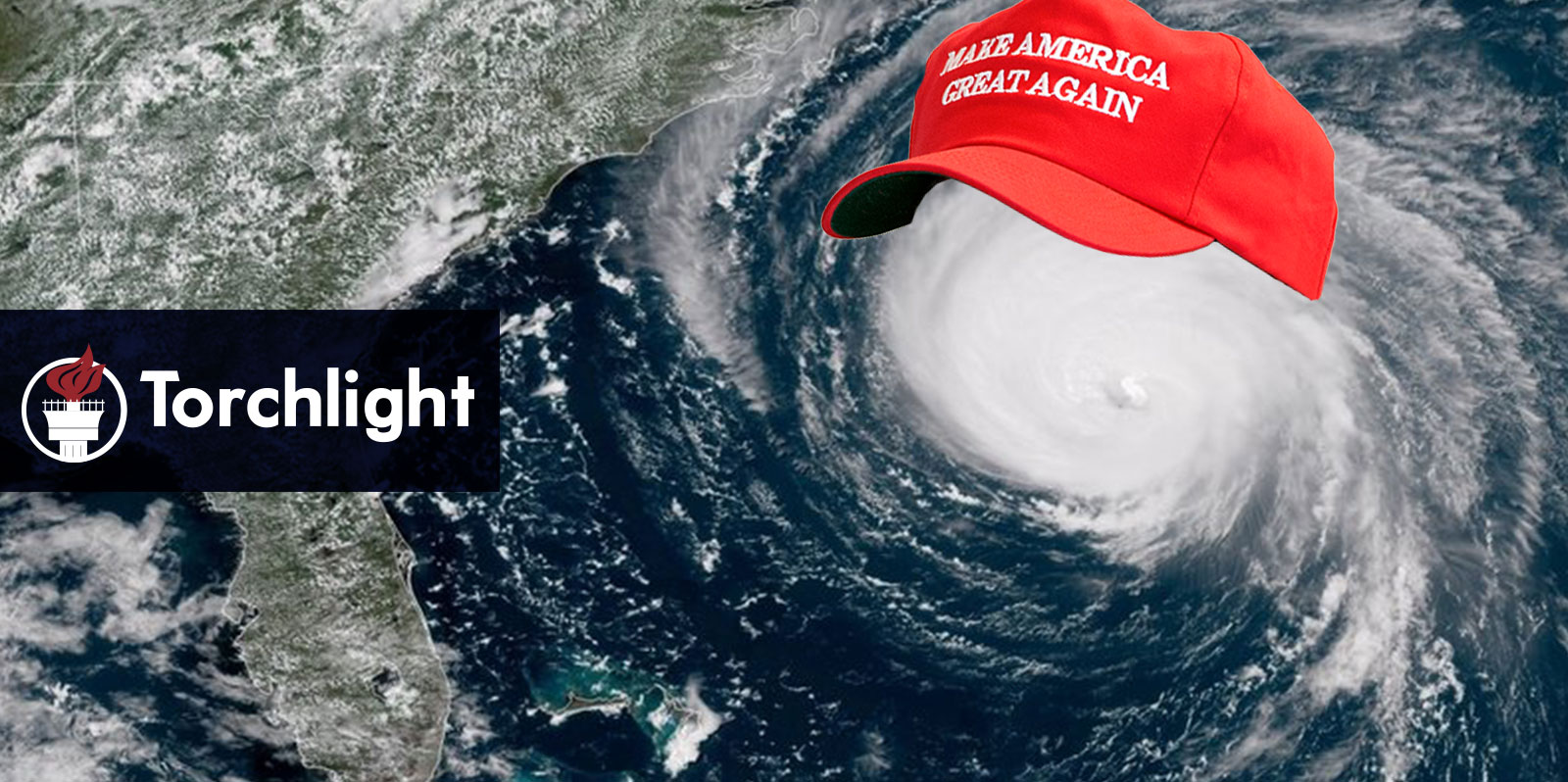 A satellite image of a storm front wearing a MAGA hat