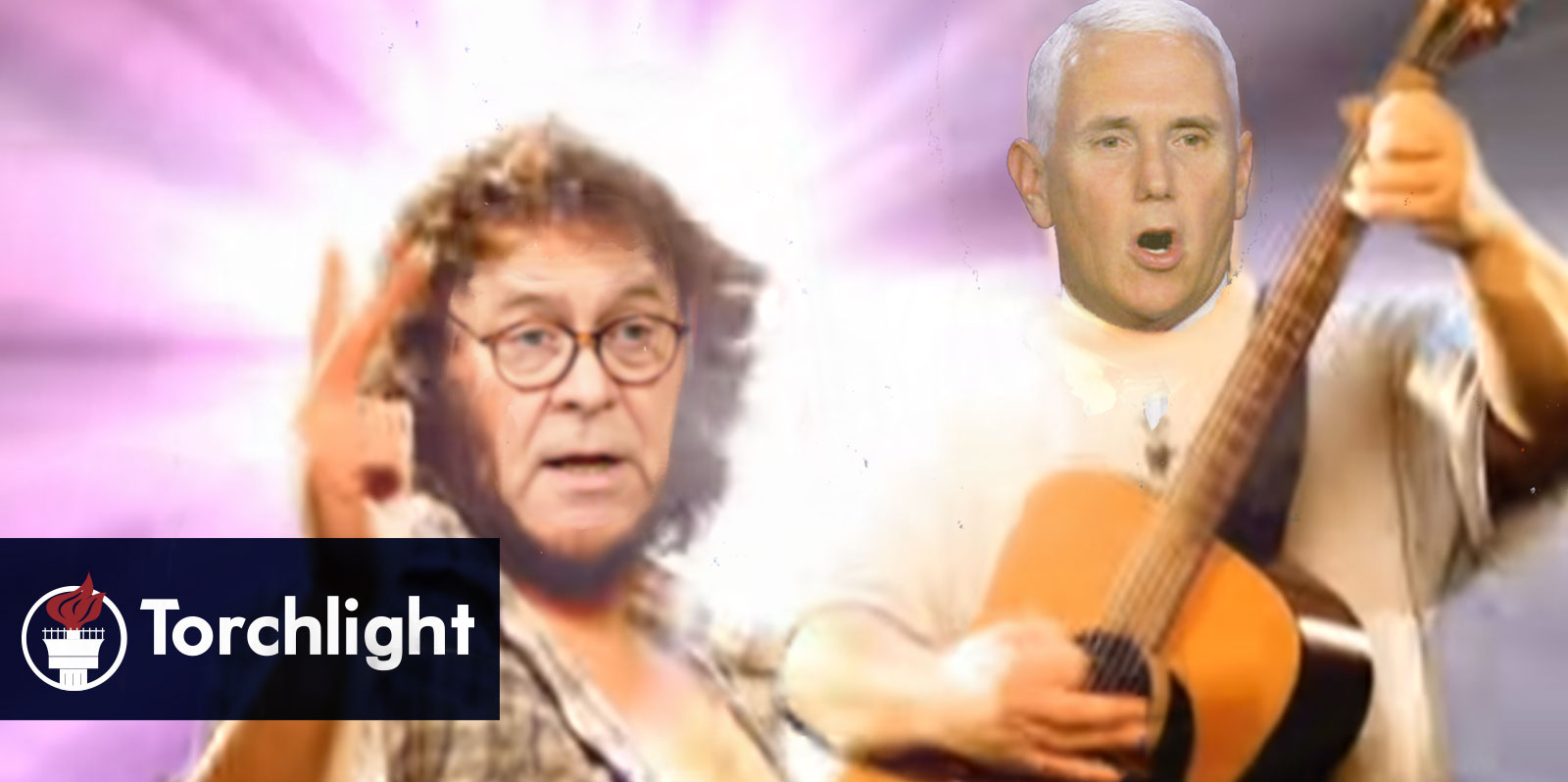 Barr and Pence's heads grafted onto a photo of Tenacious D